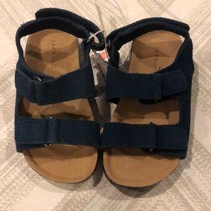 Zara Baby Boys Dark Blue Leather Velcro Sandals